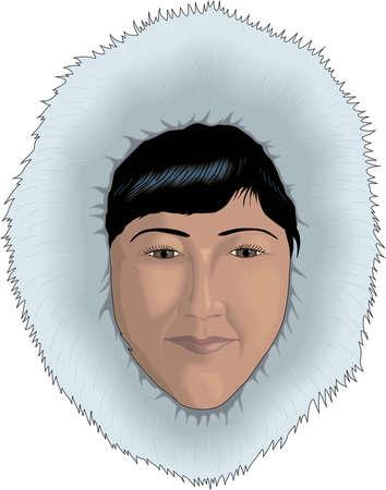Eskimo woman illustration.