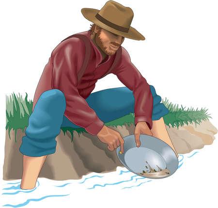 prospector: Ilustración del prospecto de oro Vectores