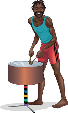 jamaican man: Jamaican drummer illustration.