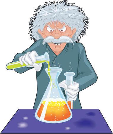 Gekke wetenschapper cartoon