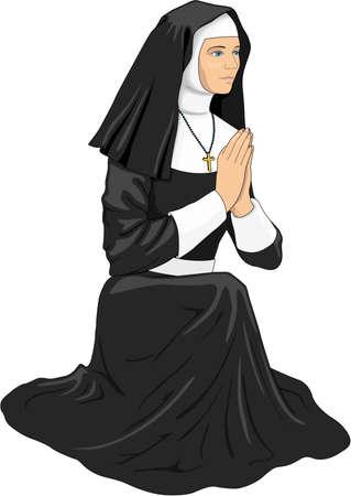 Nun Praying Illustratie Stock Illustratie