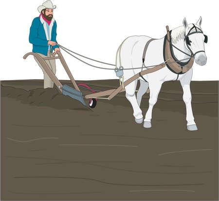 Plowing illustration. Иллюстрация
