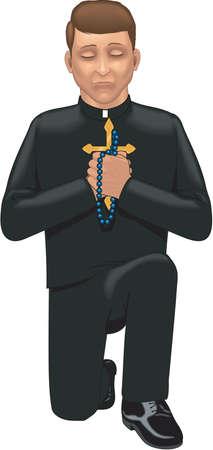 Priest praying illustration.
