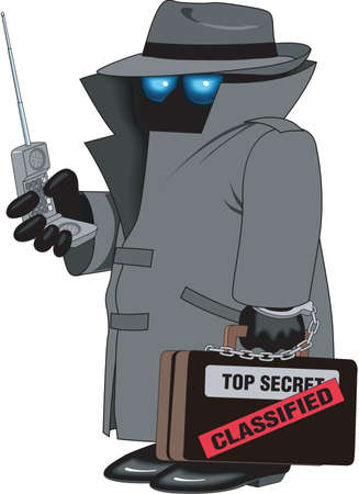 Spy cartoon illustration.