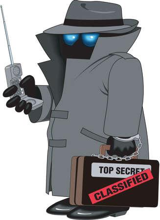 Spy cartoon illustration.