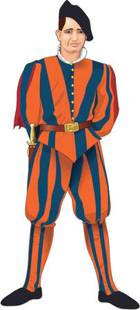 Swiss guard illustration. Иллюстрация