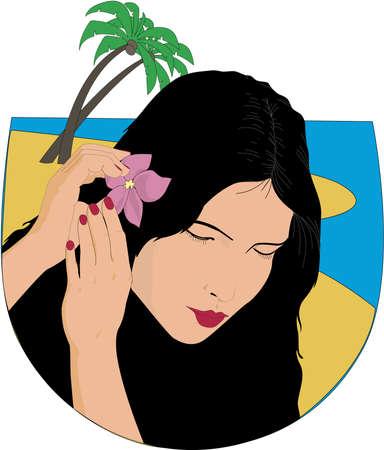 タヒチの女性イラスト  イラスト・ベクター素材