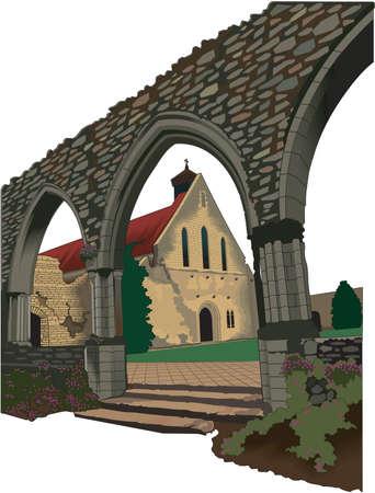 Beaulieu Abbey Illustration Векторная Иллюстрация