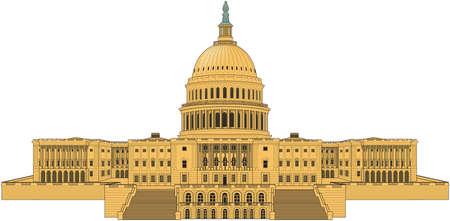 米国国会議事堂の建物のイラスト。