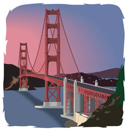Golden Gate Bridge Illustration Illustration