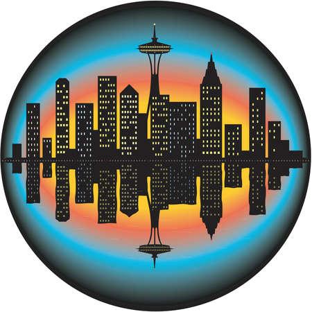 Seattle Skyline Illustration Illustration
