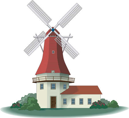 Wind Mill Illustration Illustration