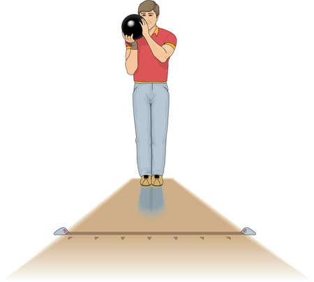 Bowler Illustration in a standing position. Ilustração