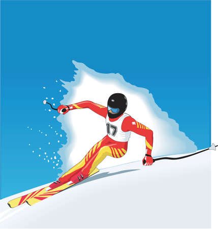 Downhill Racer Illustration Vettoriali