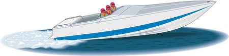 Racing Boat Illustration Ilustração