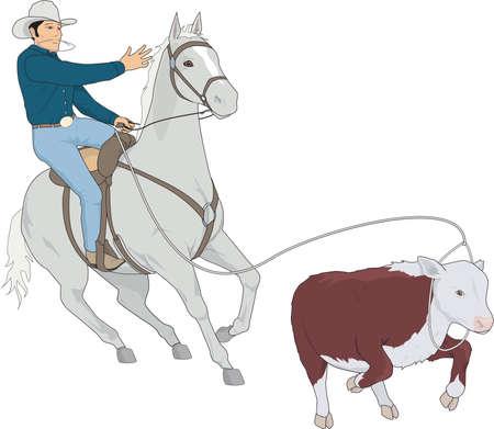 子牛のロープをかける図  イラスト・ベクター素材