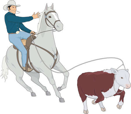 Calf Roping Illustration
