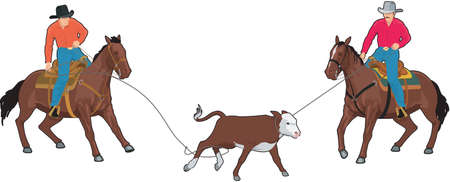 Calf Roping Illustration