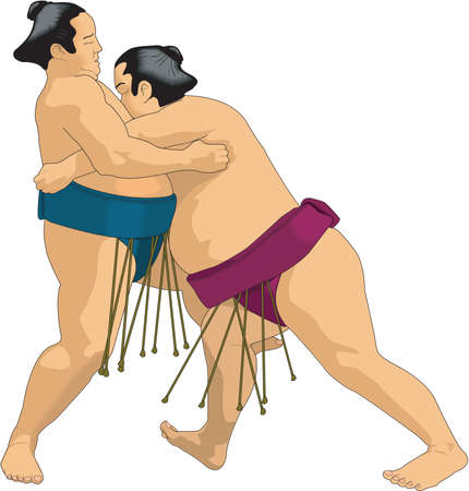 Sumo Wrestlers Illustration