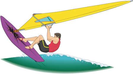Ilustración de la persona que practica surf del viento Foto de archivo - 84176513