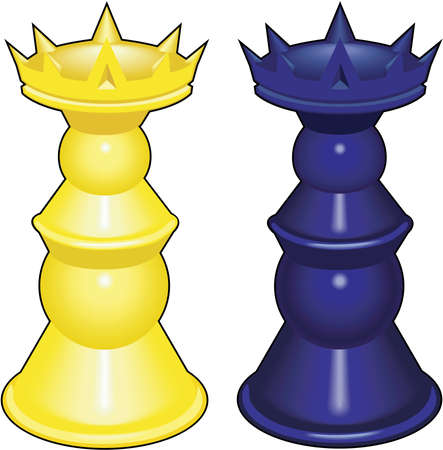 Chess queens illustration.