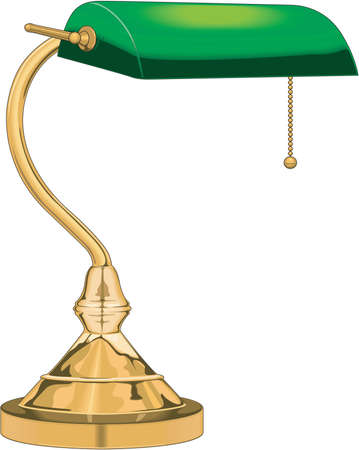 Realistic gold and green desk lamp Illustration Illustration