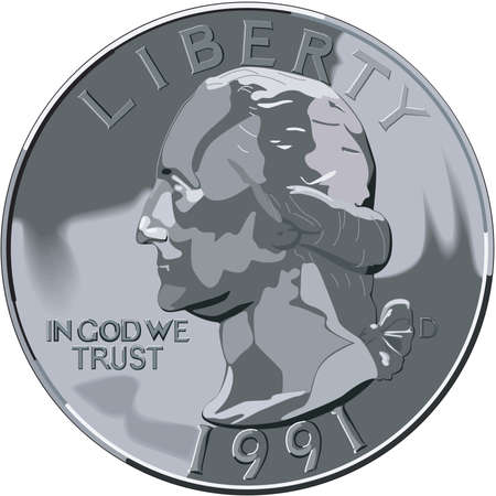 Realistic quarter Illustration with year 1991 and liberty typography