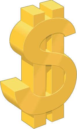 3 dimension Dollar Sign Illustration