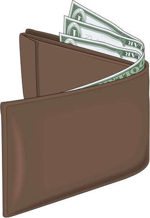 Realistic Wallet Illustration with money inside