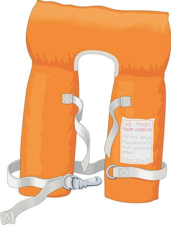 emergency vest: Cartoon illustration of Life Jacket