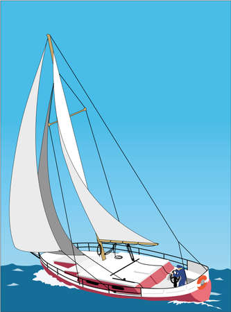 Realistic Sailboat sailing in the sea illustration Reklamní fotografie - 85168918