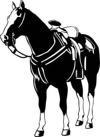 立っている馬のイラストです。