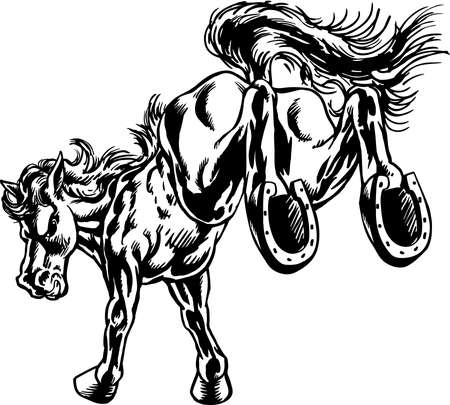 A Mustang Kick Mascot Illustration. Ilustração