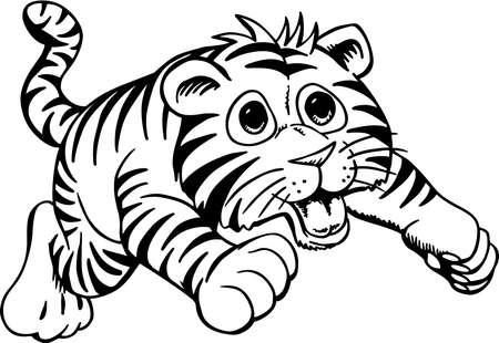 Tiger Cub Cartoon Ilustração