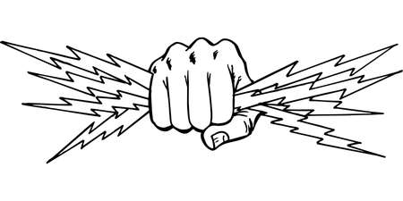 Fist with Lightning Illustration.