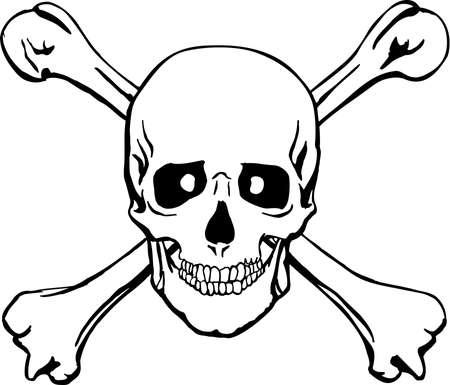 Cráneo y tibias cruzadas ilustración Foto de archivo - 85864658