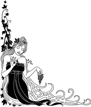 Goddess with Grapes Illustration 向量圖像