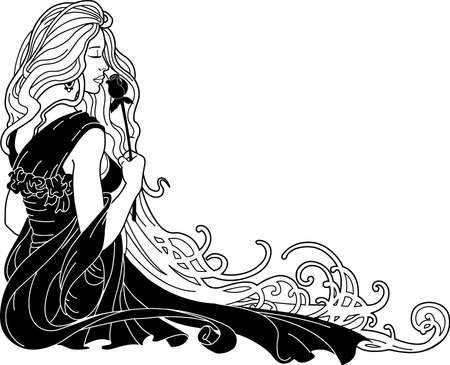 Woman Smelling Flower Illustration