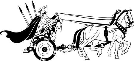 Roman Warrior in Chariot Illustration