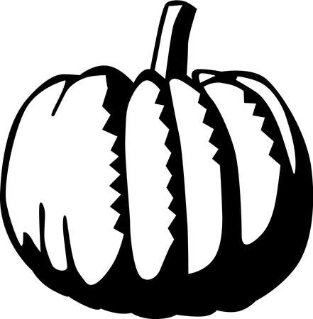 Black and white pumpkin illustration 向量圖像