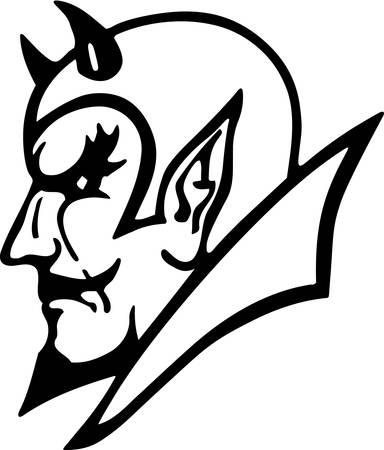 Devil Head Illustration.