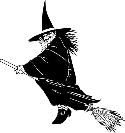 Witch on Broom Illustration.