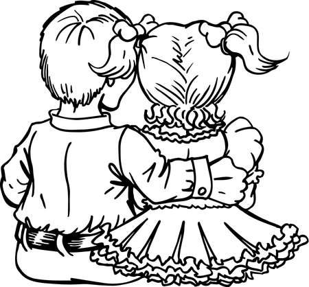 Ilustración sentada chico y chica Foto de archivo - 86386456
