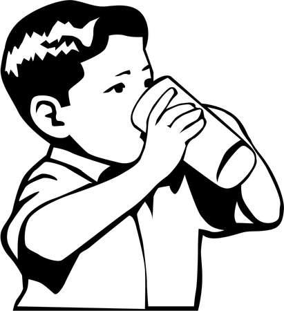 Boy Drinking Illustration on white background.