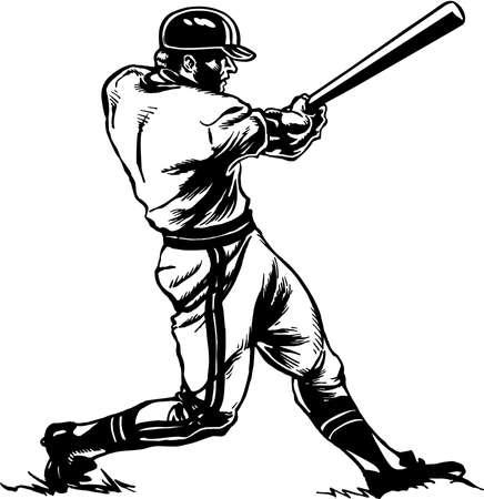 野球バッターのイラスト。  イラスト・ベクター素材