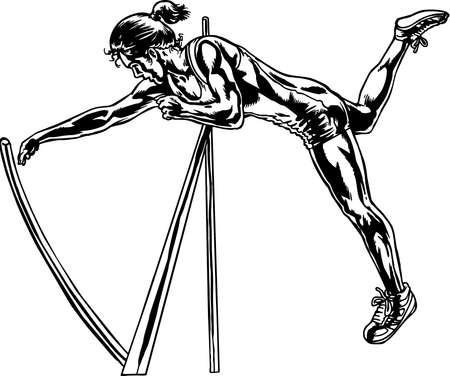 Pole Vaulter Illustration. Ilustração
