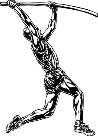 Pole Vaulter Illustration. Иллюстрация