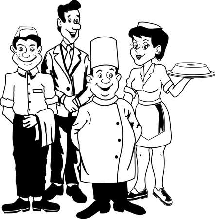 Restaurant Group of people Cartoon style