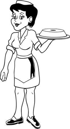 Waitress Cartoon style
