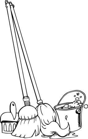 Mop, Broom & Bucket Illustration